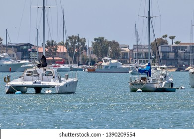Newport Beach, CA / USA - May 5, 2019: boats in Newport Beach Harbor on a summer day