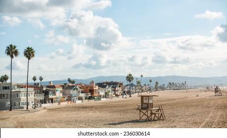 Newport Beach California 1. The coast of Newport Beach, California on a hazy sunny morning.