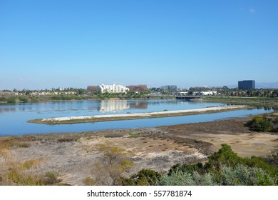 NEWPORT BEACH, CALIFORNIA - JANUARY 16, 2017: Upper Newport Bay. Seen from Vista Point at East Bluff Drive and Back Bay Drive, looking towards Irvine.