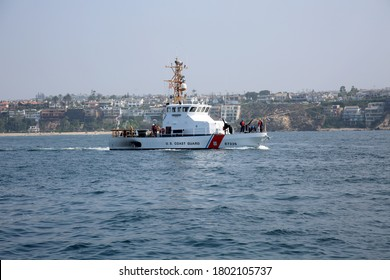 Newport Beach, California / USA - August 24, 2020: Coast Guard. Coast Guard Boat in Southern California. Coast Guard patrols Orange County Harbors and Oceans. Editorial Use Only.