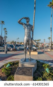Newport Beach, California, USA, February 28, 2017: 99 Newport Pier Statue of BEN CARLSON, THE FALLEN NEWPORT BEACH HERO