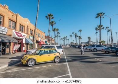 Newport Beach, California, USA, February 28, 2017: Newport Beach Pier, corner of W Oceanfront and 22nd Street