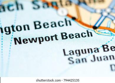 Newport Beach. California. USA on a map