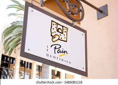 Newport Beach, California/United States - 07/15/19: A store front sign for the cafe known as Le Pain Quotidien, located inside Fashion Island