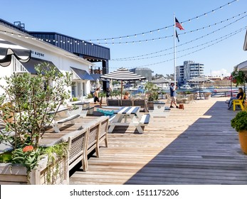 Newport Beach, California/United States - 09/03/2019: The landscape design of the waterside complex known as Lido Marina Village
