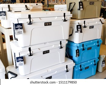 Newport Beach, California/United States - 09/03/2019: Several Yeti ice coolers on display at a local outdoors retail store