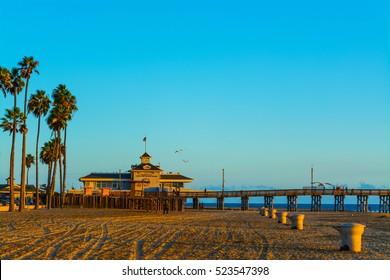 Newport Beach pier at sunset, California