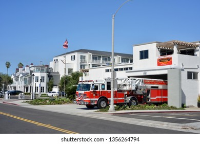 Newport Beach, USA, 10-04-2018 Firestation and Fire Truck outside the Fire Station