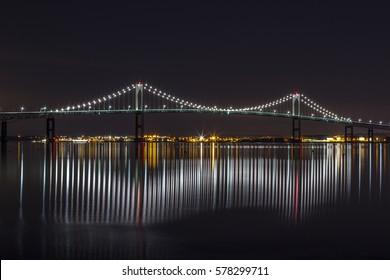 Newport Bridge on calm winter night.