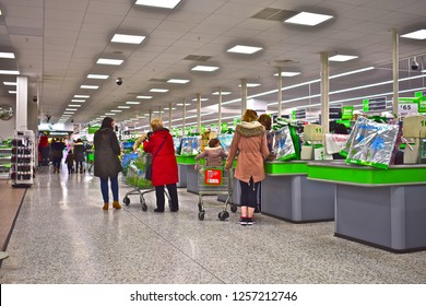 Newport, County Borough of Newport / Wales UK - 2/2/2018: Shoppers leaving the checkouts at the modern Asda supermarket in Dyffryn, Newport, SE Wales.