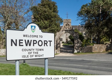 NEWPORT, ISLE OF WIGHT - MARCH 26, 2012: Road sign for the town of Newport