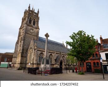 Newport, Isle of Wight / United Kingdom - May 5 2020: The Newport Minster Church & War Memorial In St Thomas's Square, Newport, Isle of Wight