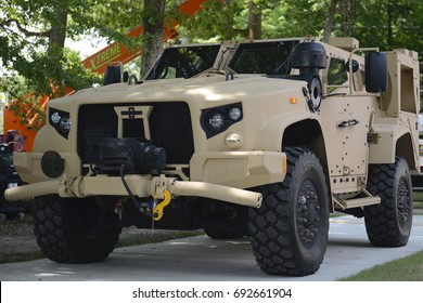 NEWPORT NEWS, VIRGINIA - August 2, 2017: Light Military Tactical Vehicle Parked at Joint Base Langley-Eustis.