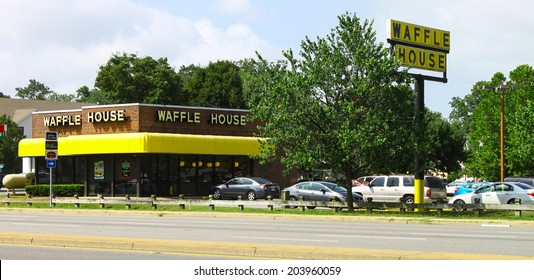 NEWPORT NEWS, VIRGINIA - JULY 3, 2014:A Waffle House breakfast restaurant in Newport News VA. Waffle House Inc. is a restaurant chain with over 1700 locations found in 25 states in the United States.