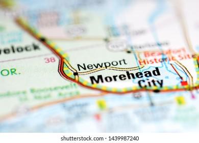 Newport. North Carolina. USA on a geography map