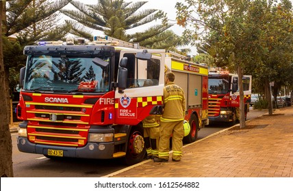 Newport NSW, Australia - Jan 9, 2020. Australian firetruck and fire fighters having a pitstop in Newport north of Sydney. All firefighters and equipment is in high alert due to large bushfires around.