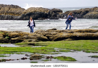 NEWPORT, OREGON - MAY 20, 2018 - Two young women check their mobile phones while on the beach at Seal Rock beach,  Newport, Oregon