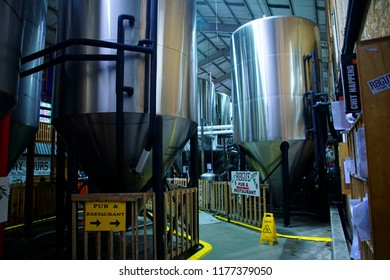 NEWPORT, OREGON - MAY 22, 2018 - Large brew vats at the Rogue Nation Brewery, Newport, Oregon