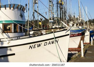 NEWPORT, OREGON - MAY 8, 2009 - Fishing boats at anchor in marina of Yaquina Bay at Newport OR.