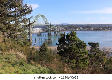 Newport, Oregon / USA / Feb 20, 2020: Yaquina Bay Bridge Scene.