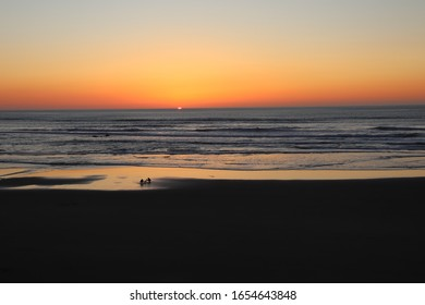 Newport, Oregon / USA - Feb 20, 2020: Sunset at Moolack Shores.