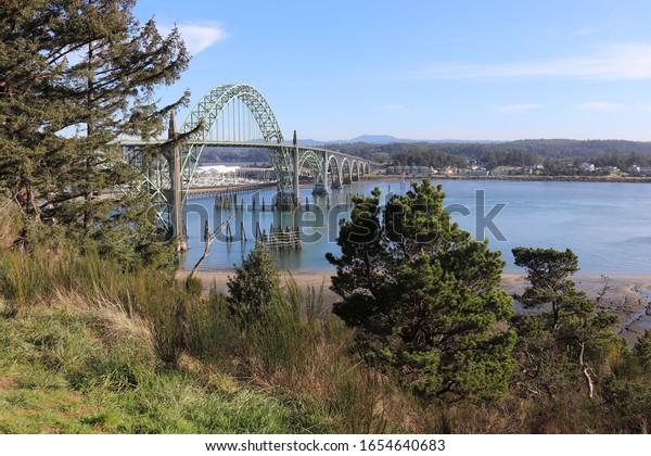Newport, Oregon / USA / Feb 20, 2020: Yaquina Bay Bridge Scene.