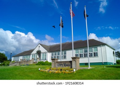 Newport, Oregon, USA, June 10, 2020, Newport City Hall. City hall building. An old wooden office building.