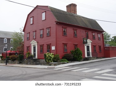 NEWPORT, RHODE ISLAND—SEPTEMBER 2017:  Side view of the White Horse Tavern, known to be America's oldest tavern established in 1673 in Marlborough Street, Newport.
