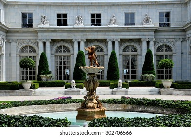 Newport, Rhode Island - July 17, 2015:  1898-1902 Rosecliff Mansion built for Theresa Fair Oelrichs, a silver heiress from Nevada, was modeled after the Grand Trianon at Versailles Palace