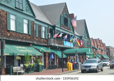 NEWPORT, RHODE ISLAND - JULY 19: Downtown Newport in Rhode Island as seen on July 19, 2013. Newport now contains among the highest number of surviving colonial buildings of any city in the USA.