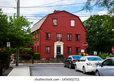 Newport, Rhode Island / United States - June 30, 2019: The White Horse Tavern - the Oldest Tavern in America.