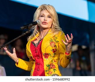 Newport, Rhode Island, USA - July 27,2019: Dolly Parton performs at The Newport Folk Festival in Rhode Island.