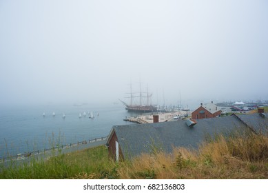 NEWPORT, RHODE ISLAND USA - JULY 12, 2017: The SSV Oliver Hazard Perry moored to the  foggy the pier at Fort Adams State Park Newport Rhode Island, USA.