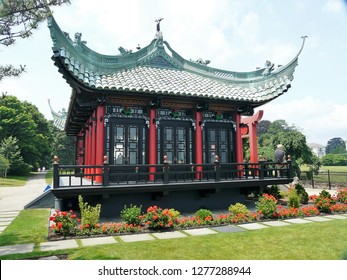 Newport, Rhode Island / USA - June 2010: Newport Mansion, Tea house at The Marble House, in Newport
