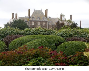 Newport, Rhode Island, USA - September 19, 2018: Peek at the historic Seafair Mansion bought by former Tonight Show host Jay Leno on the famous Ocean Drive