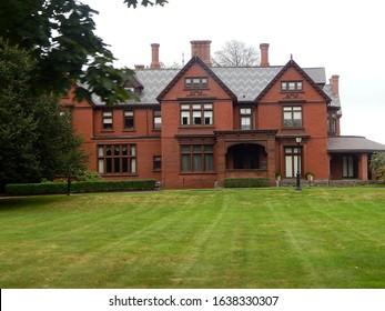 Newport, Rhode Island, USA - September 19, 2018: Exterior facade of Newport mansion on Bellevue Avenue