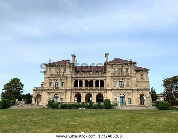 Newport, Rhode Island, USA  September 18, 2020 The famous Breakers mansion that was once owned and inhabited by the Vanderbilt family, US royalty. The arched doorways are in the rear of the mansion.
