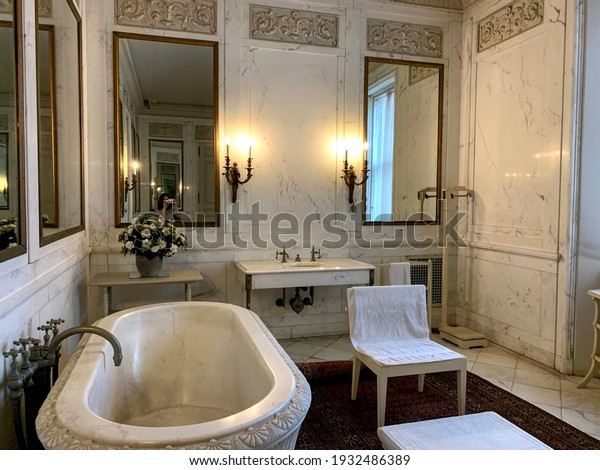 Newport, Rhode Island, USA  September 18, 2020  One of the magnificent bathrooms made of all marble in the historical Breakers Mansion which was previously owned by the famous Vanderbilt family.