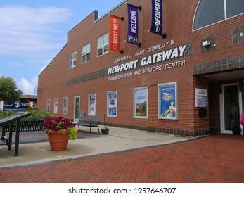 Newport, Rhode Island-September 2017: Facade of the Humprey J. Donnelly 111 Newport Gateway visitors center.