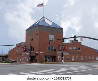 Newport, Rhode Island-September 2017: Wide full shot of the Newport Gateway transportation and visitors center.