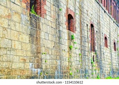 Newport, Rhode Island/USA- August 11, 2018: A horizontal high definition image of loophole openings in the former Fort Adams' exterior walls.