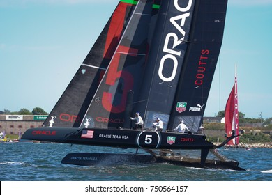 NEWPORT, RI - JUNE 27: Russell Coutts skippers Oracle Team USA catamaran at 2012 America's Cup World Series on June 27, 2012 in Newport, RI.