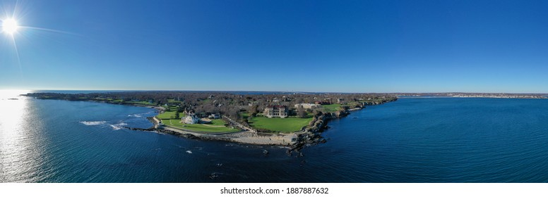 Newport, RI - Nov 29, 2020: The Breakers and Cliff Walk aerial view. The Breakers is a Vanderbilt mansion with Italian Renaissance built in 1895 in Bellevue Avenue Historic District in Newport, RI.