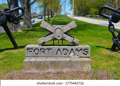 NEWPORT, RI, USA - MAY 13, 2020: Sculpture and Anchor at the entrance of Fort Adams State Park in city of Newport, Rhode Island RI, USA.