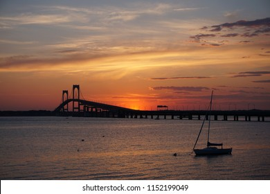 NEWPORT, RI USA - MAY 23, 2018: Claiborne Pell Newport Bridge at sunset