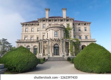 Newport, RI/USA - August 2, 2018: The Breakers mansion in Newport, Rhode Island is a national historic landmark, built by Cornelius Vanderbilt