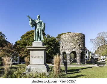 Newport Tower and Channing Statue, Tauro Park, Newport Rhode Island USA. Summer, 2016