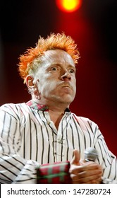 Newport, UK. John Lydon of The Sex Pistols perform at the Isle of Wight Festival - Day 2 in Newport. 14th June 2008.