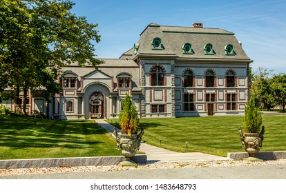 Newport, USA - August 20, 2019: Belcourt is a former summer cottage designed by architect Richard Morris Hunt for Oliver Hazard Perry Belmont and located on Bellevue Avenue in Newport, Rhode Island.