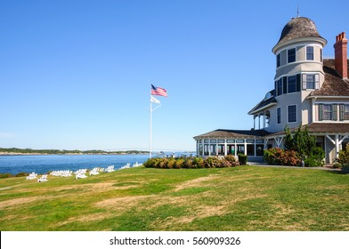 Newport, USA - CIRCA 2010: Castle Hill Inn in Newport, Rhode Island. Classic Rhode Island beach hotel of 19th century featuring luxury rooms, weddings and events.
